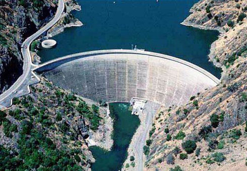 The Monticello Dam, Napa County, California, USA - Aerial view of the Monticello Dam
