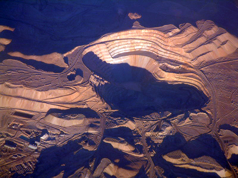 Chuquicamata copper mine, Chile - Aerial view of Chuquicamata copper mine
