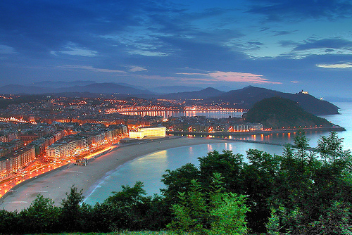 San Sebastian in Spain - San Sebastian view by night