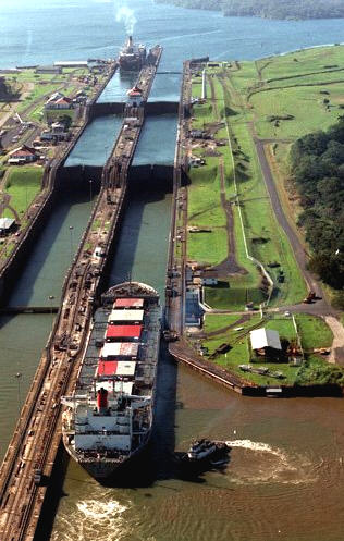 Panama Canal in Panama - Heavy traffic in Panama Canal