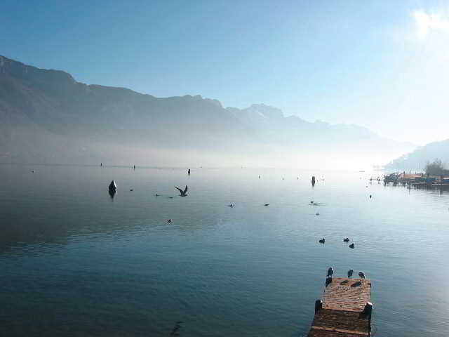 Lake Annecy in France - Early morning lake view