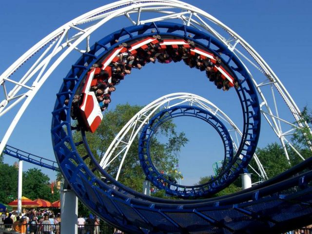 Cedar Point Amusement Park in Ohio, USA - Corkscrew
