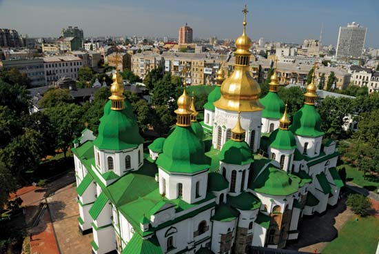St. Sophia Cathedral in Kiev - Aerial view