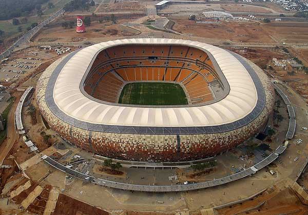 Soccer City Stadium in Johannesburg, South Africa - Aerial view of the stadium