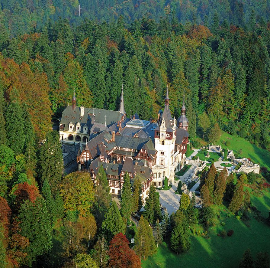 Peleş Castle, Romania - Aerial view of the castle