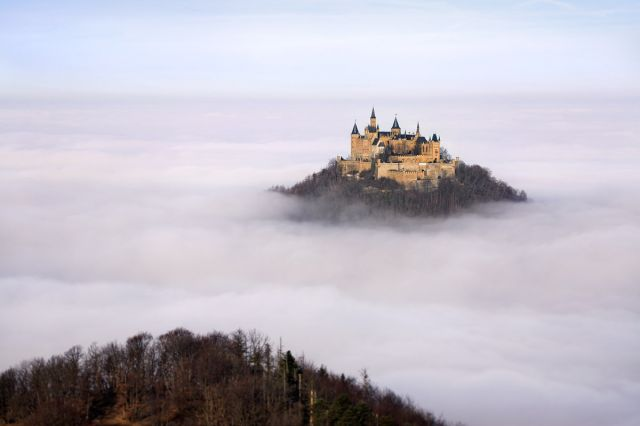 Hohenzollern Castle, Germany - Standing imposingly among greenish hills
