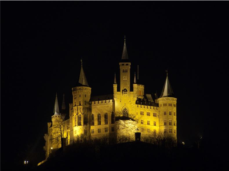 Hohenzollern Castle, Germany - View of the castle at night
