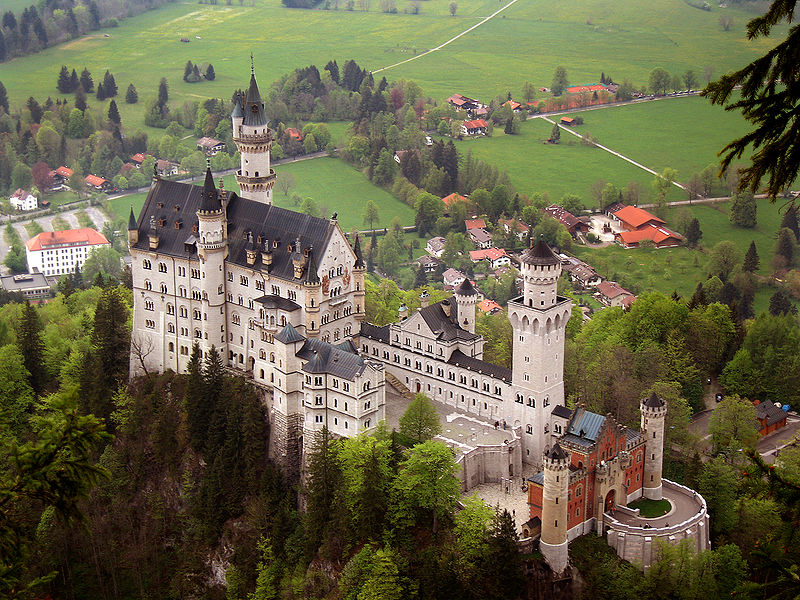 Neuschwanstein Castle, Germany - Aerial view of the castle