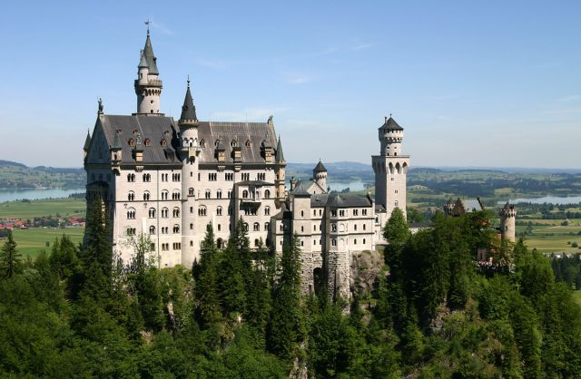 Neuschwanstein Castle, Germany - Close view of the castle