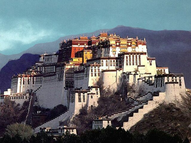 The Potala Palace, Tibet - Side view of the palace