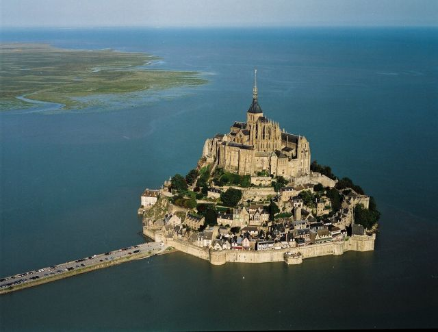 Mount Saint Michel, France - Aerial view of the castle