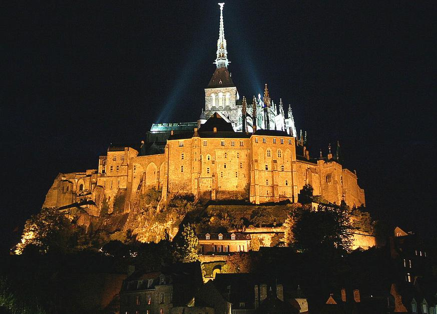 Mount Saint Michel, France - Mount Saint Michel at night