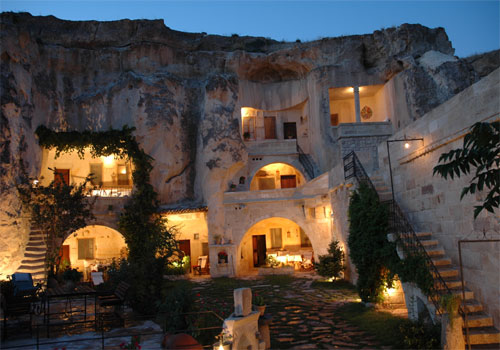 Fairy chimney houses in Cappadocia, Turkey - Cave hotel