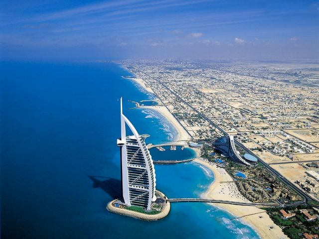 Burj Al Arab in Dubai, the United Arab Emirates - Aerial view of the hotel