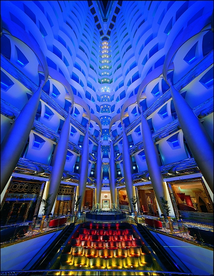 Burj Al Arab in Dubai, the United Arab Emirates - Lobby of the hotel