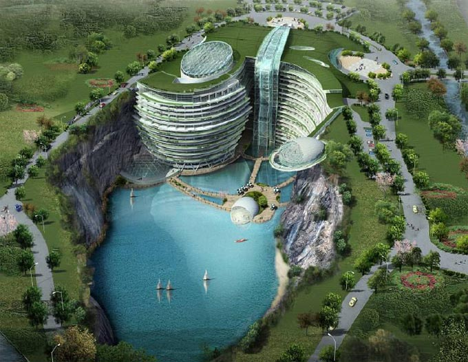 Waterworld Hotel in China - Aerial view of the hotel