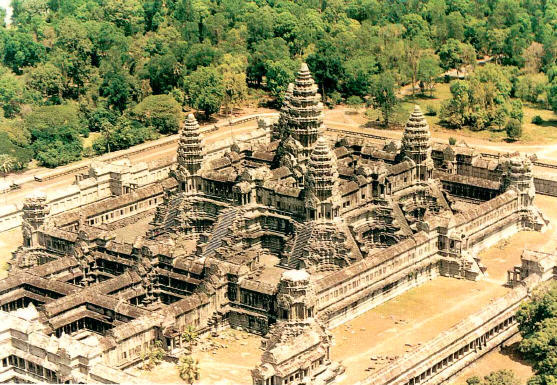 Angkor Wat in Cambodia - Aerial view of the temple
