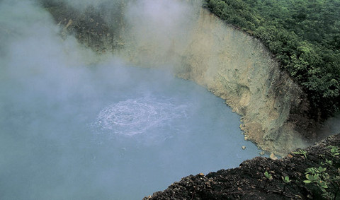 Boiling Lake in Dominica - Aerial view