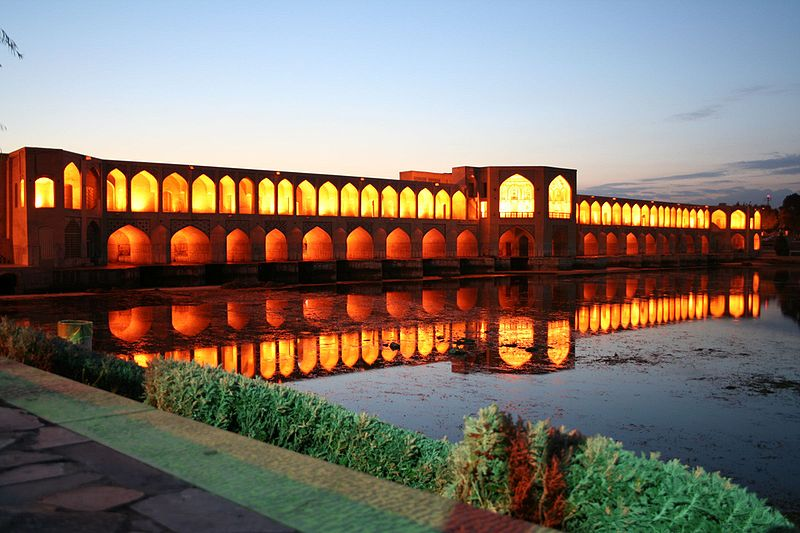 Khaju Bridge in Iran - Khaju Bridge at night