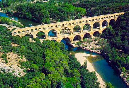Pont du Gard in France - Aerial view
