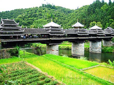 The wind and rain bridge in china beautiful scenery images