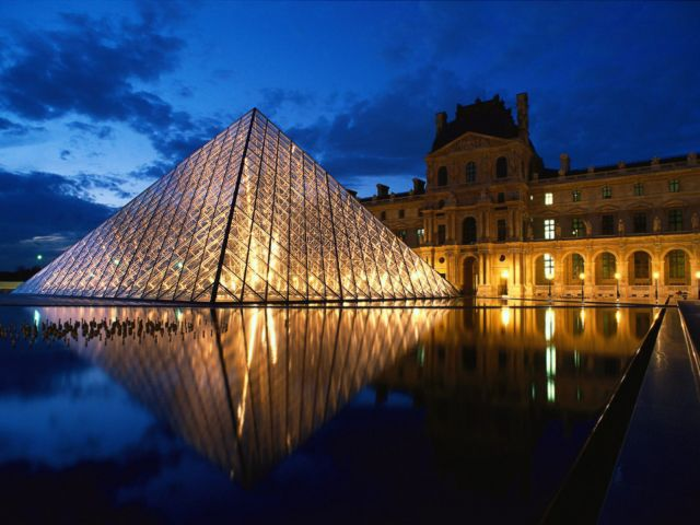 Louvre Museum in Paris, France - Night view