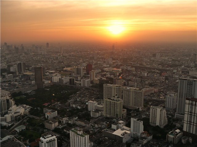 Bangkok in Thailand - Beautiful sunset over Bangkok
