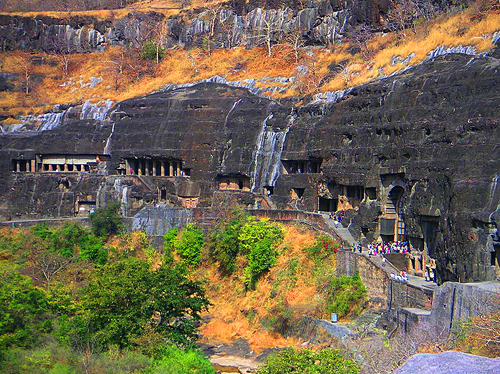 Ajanta Caves in Maharashtra, India  - Panoramic setting