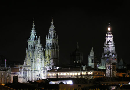 Santiago de Compostela Cathedral in Spain - Cathedral view by night