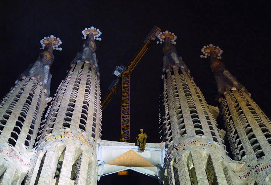 Sagrada Familia in Barcelona, Spain - Sagrada Familia view by night