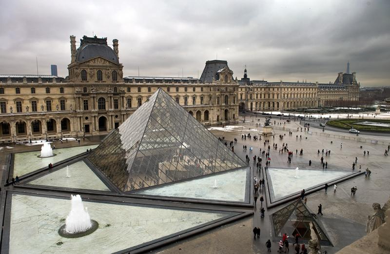 Louvre Museum in Paris, France - Aerial view