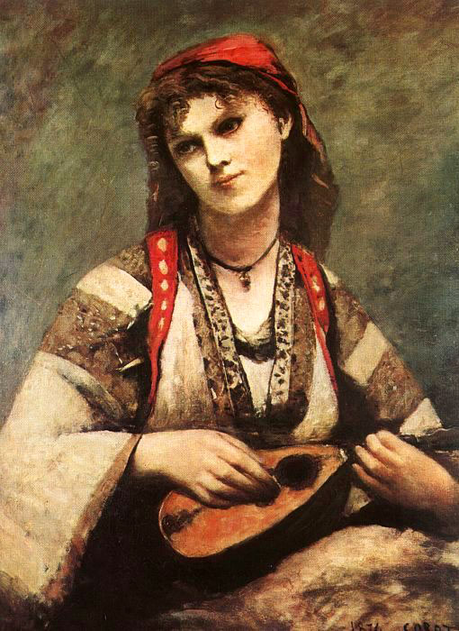 Sao Paolo Museum of Art - Gypsy Girl with a mandolin by Corot