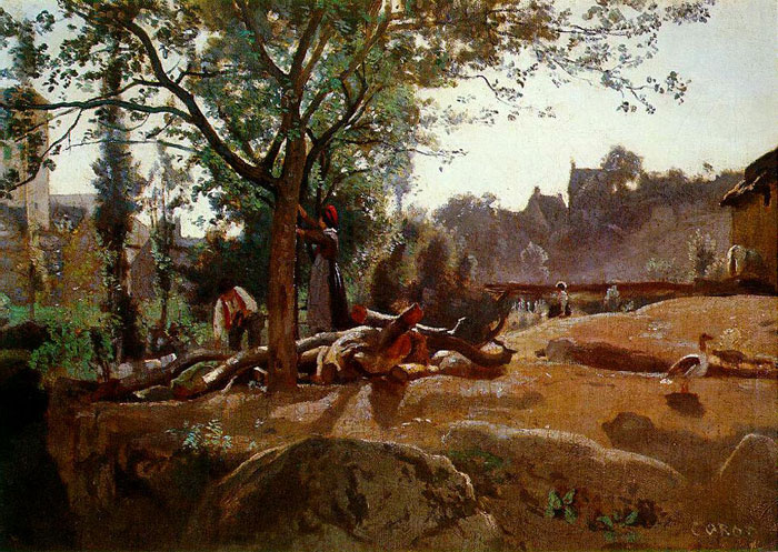 National Gallery of London - Peasants under the Trees at Dawn by Jean-Baptiste Camille Corot
