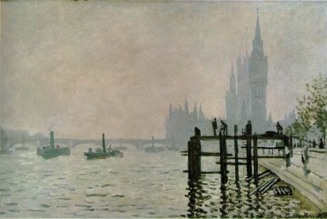 National Gallery of London - Tames below Westminster by Claude Monet