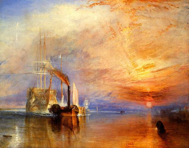 National Gallery of London - The Fighting Temeraire tugged to her last berth to be broken up by J. M. W. Turner