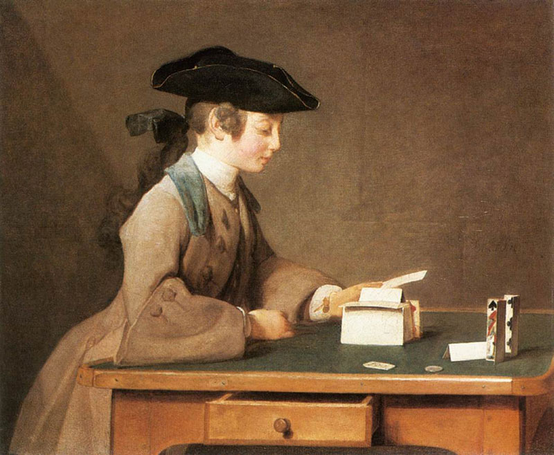 National Gallery of London - The House of Cards by Jean-Baptiste-Simeon Chardin