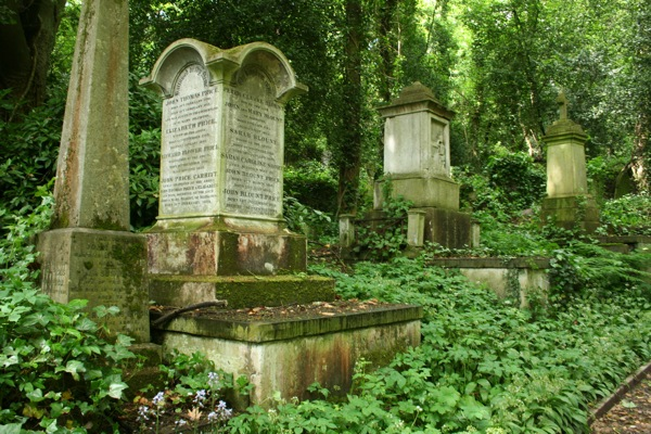 Highgate Cemetery in London, UK - Cemetery view