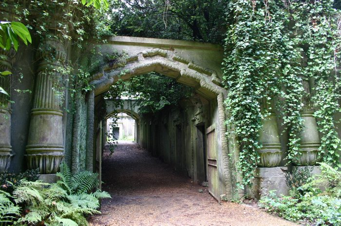 Highgate Cemetery in London, UK - Entrance to the Egyptian Avenue
