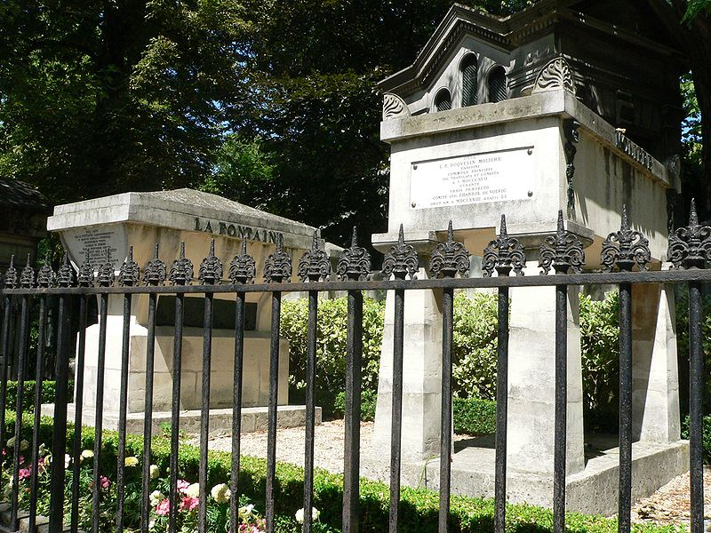 Pere Lachaise Cemetery in Paris, France - La Fontaine and Molière graves