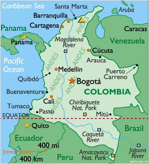 map of colombia. Image Map of Colombia