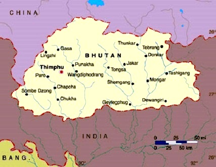 Images Bhutan Map Of Bhutan - Map of bhutan