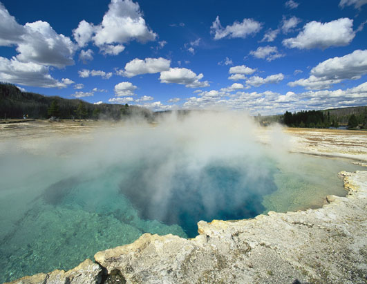 The Yellowstone National Park in Wyoming, USA  - Geyser view