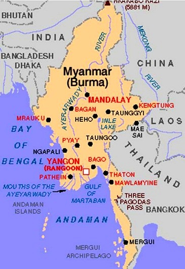 Myanmar On Map Of Asia.Images Myanmar Map Of Myanmar 8574