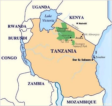 physical map of tanzania. Image Map of Tanzania