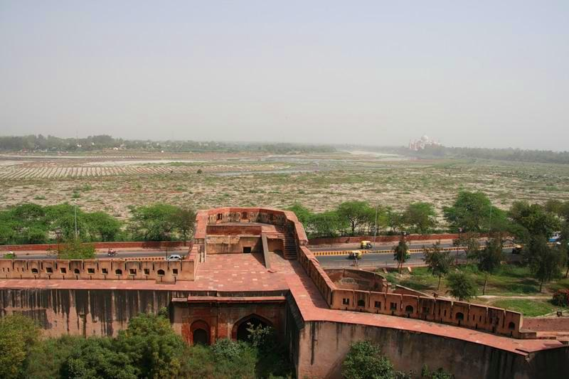Agra in India - View of Taj Mahal from Agra Red Fort