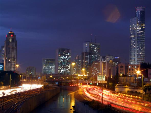 Tel Aviv in Israel - City view by night