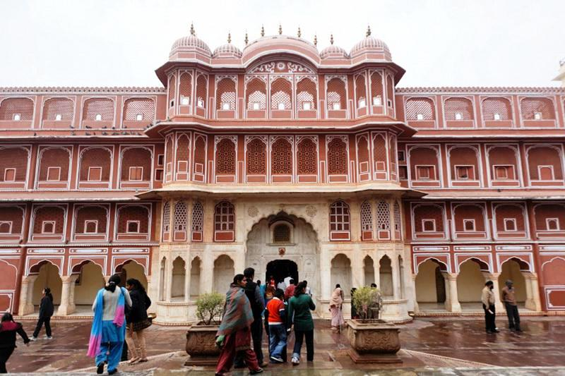 Jaipur in India - Facade in City Palace complex