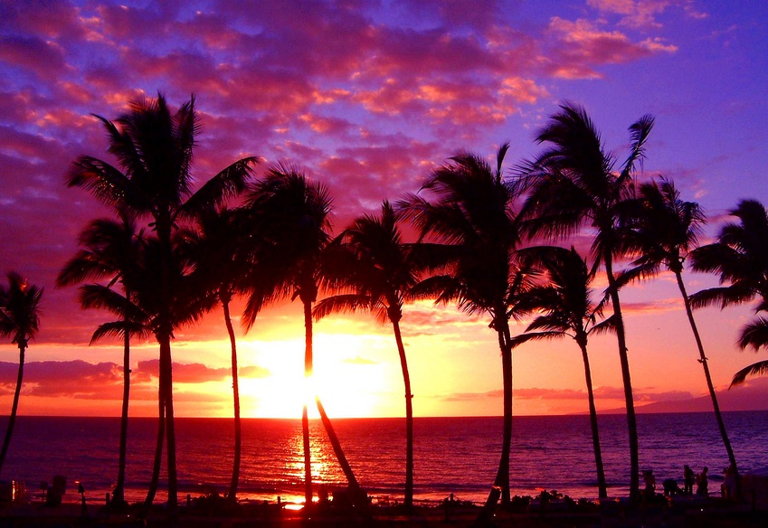 Maui in Hawaii - Beautiful sunset on Maui island