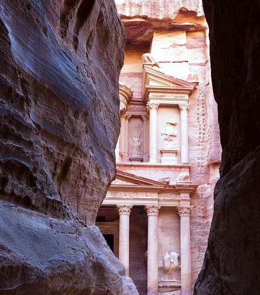 Petra in Jordan - Siq with the view of Al Khazneh