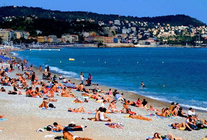 Nice, France - Public beach resort in Nice